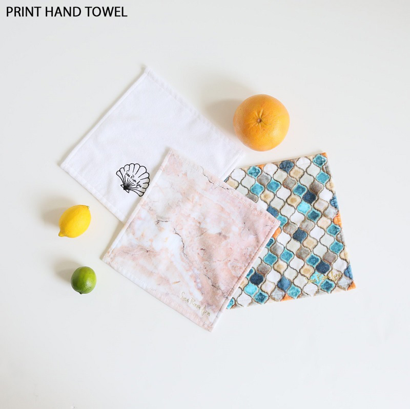 PRINT HAND TOWEL(OYSTER, 25×25)